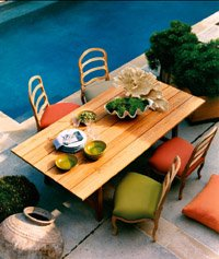 Pool side table and chairs - St. Louis outdoor living.