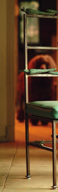an artful bronze side-chair