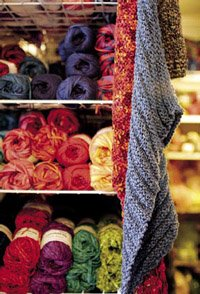 yarn and knitted scarves.