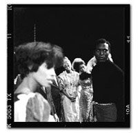 BAG performance of Jean Genet's The Blacks, 1968,  Vincent Terrell on right. Photograph courtesy of Portia Hunt.