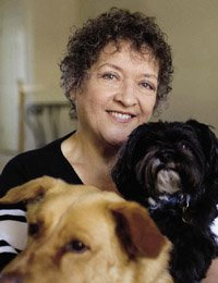 Marilyn Pona with two dogs