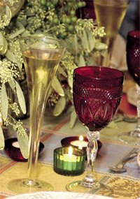 champagne flutes at a holiday table setting
