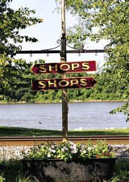 an old-fashioned sign indicating shopping in both directions