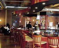 a bar in a stylish restaurant