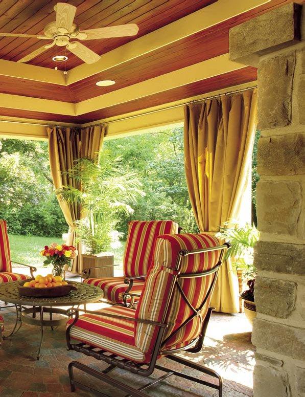 a cheerful outdoor garden room