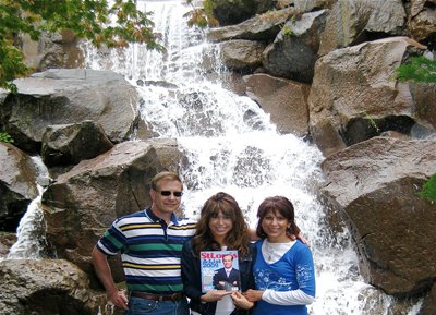 Stuart, Jessica and Barbara Radloff at the Waterfalls in Pioneer Square in Seattle, Washington