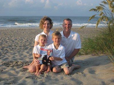 Nathan, Michelle, Christopher and  David Lilly at Emerald Isle, North Carolina