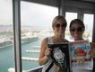 Allison Eckert and Kait Fischer, Cable car in Barcelona to the hill town of Montjuic
