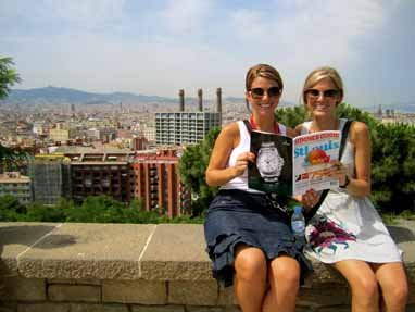 Kait Fischer and Allison Eckert, Montjuic, overlooking the city of Barcelona, Spain