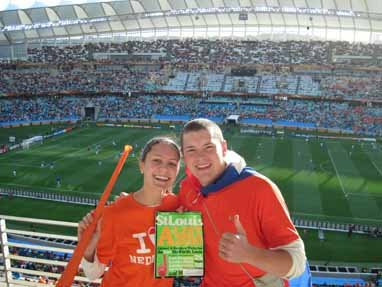 Kimberly Hoegh and Christopher Reichert, Netherlands vs. Slovakia World Cup Game at Moses Mabhida Stadium in Durban, South Africa