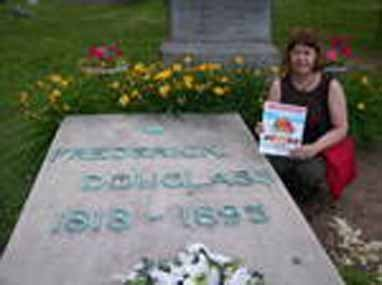 Phyllis Jacobsen Mithen, Mt. Hope Cemetery in Rochester, New York at the grave of Frederick Douglass