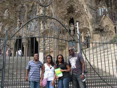 Aj, Ivrie, Jovita, and Patrick Oruwari, Barcelona, Spain