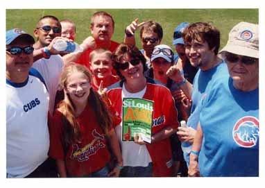 Larry, Linda, Adam, and Jenna Pleimann, Wrigley Field, Chicago, Illinois