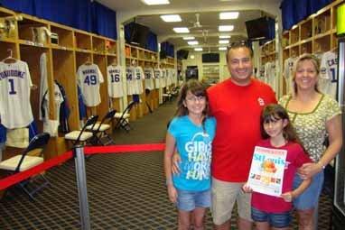 Angelina, Zino, Sophia, and Patti Rizzo, Chicago Cubs' Locker Room