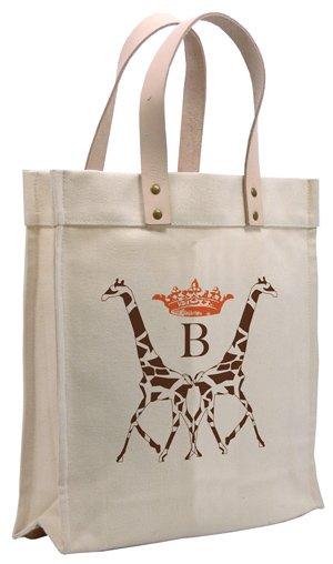 Personalized canvas bag, $98. Iomoi, 925-282-1098, iomoi.com