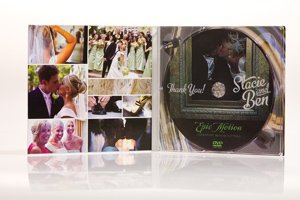 Thank You! DVD featuring wedding trailer. Pricing starts at $5 to $7 per DVD. Epic Motion, 866-408-3742, epicmotion.com