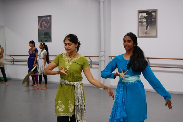 Nartana Prem (in green) plays the evil step-mother and Swathi Iyer is the step sister.