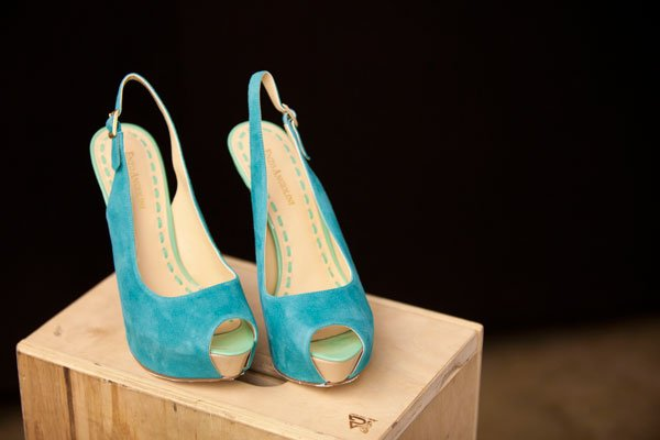 Enzo Angiolini turquoise suede and sea foam patent leather sling back peep-toe pumps