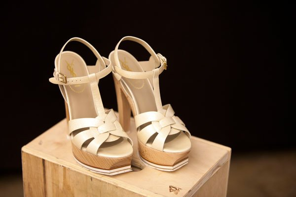 "Yves Saint Laurent ""Tribute"" pearl metallic patent and wood sandal"