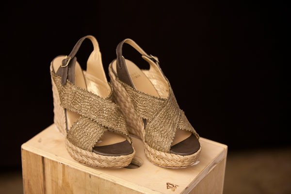 "Stuart Weitzman ""Too Good"" swamp raffia wedges"