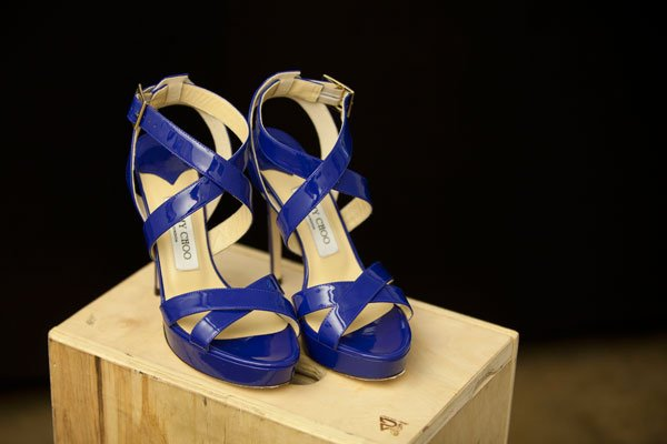 Jimmy Choo royal blue patent leather sandal