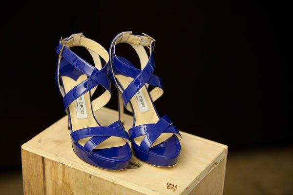 Jimmy Choo royal blue patent leather sandal
