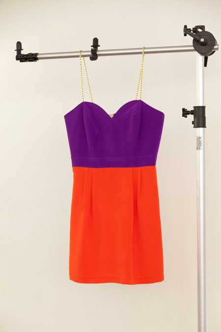 Naven sweetheart strapless color block dress