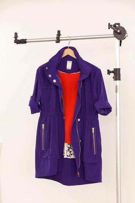 Ali Ro purple anorak and Line & Dot orange silk blouse with crochet back
