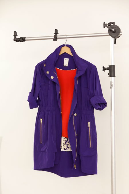 Ali Ro purple anorak and Line & Dot orange silk blouse with crochet back
