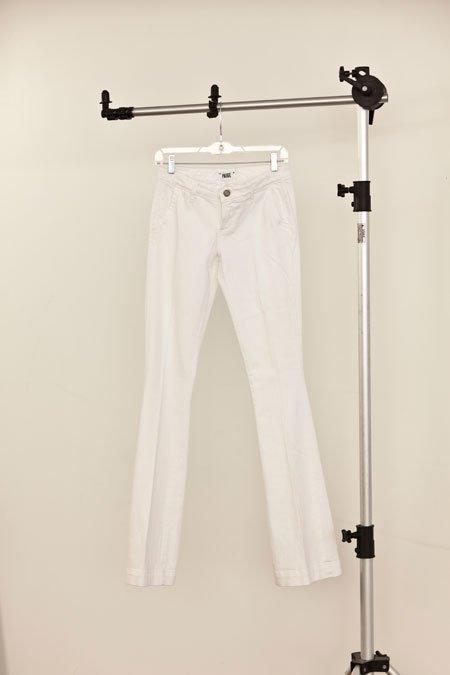 "Paige ""Santa Monica"" white flared trouser jean"