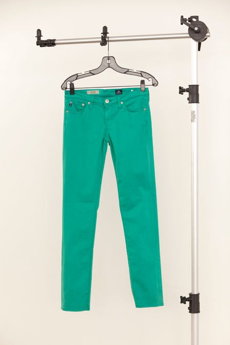 "AG ""The Stilt"" teal cigarette jean"