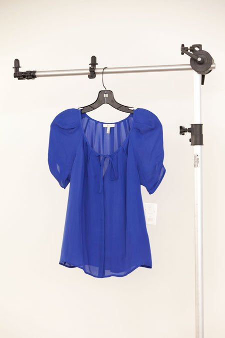 "Joie ""Berkeley"" blue silk pleated blouse"