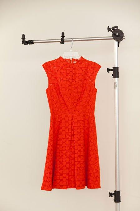"Milly ""Avery"" tangerine cap sleeve clover filcoupe dress"