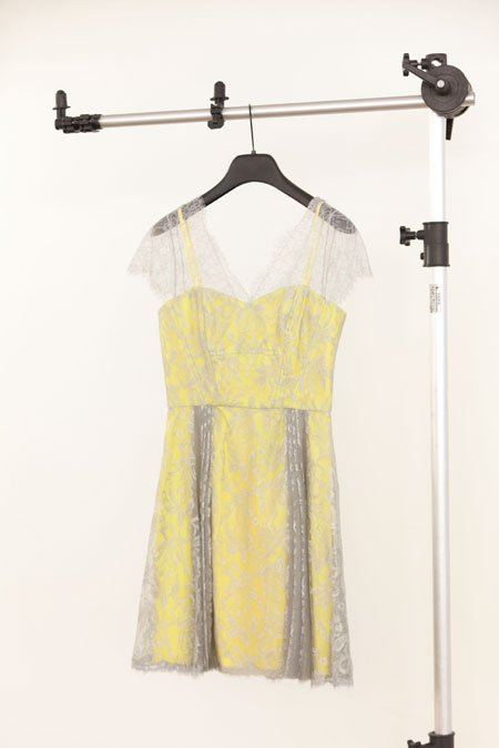 """Lov"" yellow with grey lace overlay dress"