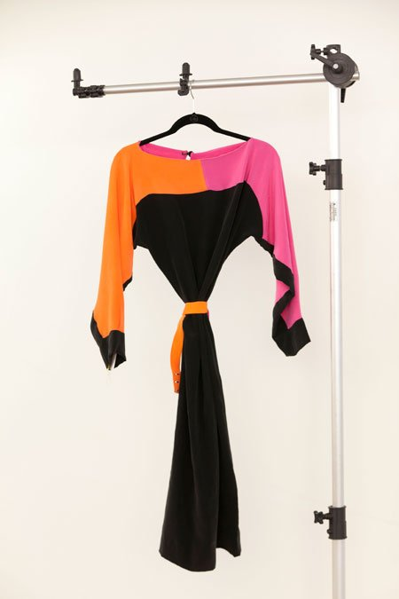Katie Kantley color blocked silk kimono dress with belt