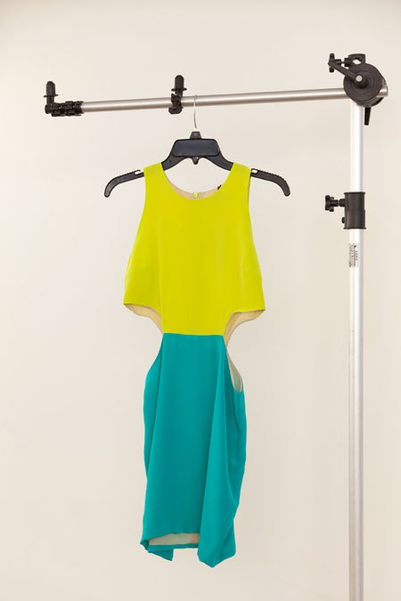 Naven turquoise and lime silk cutout dress