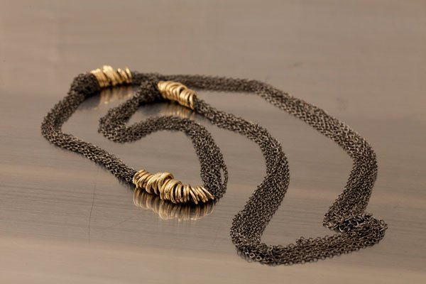 Laurie Solet Private Label gunmetal and gold necklace