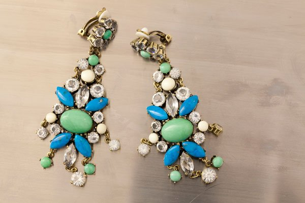 Badgley Mischka turquoise clip-on earrings