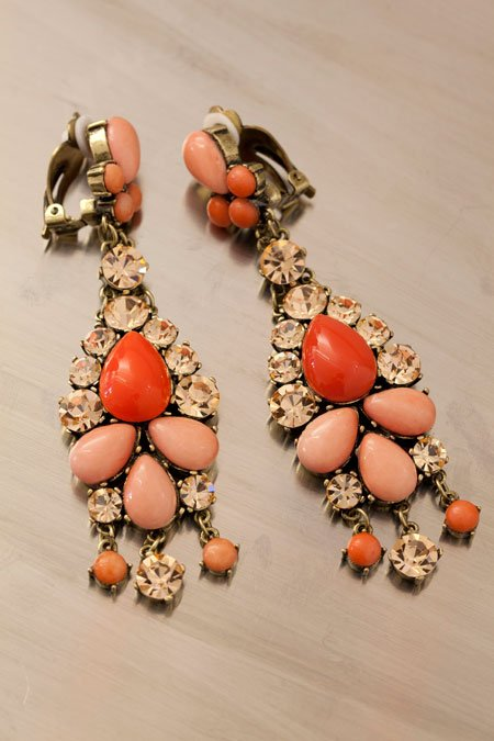 Badgley Mischka coral clip-on earrings