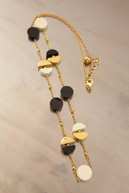 Kate Spade gold, black and white circles necklace