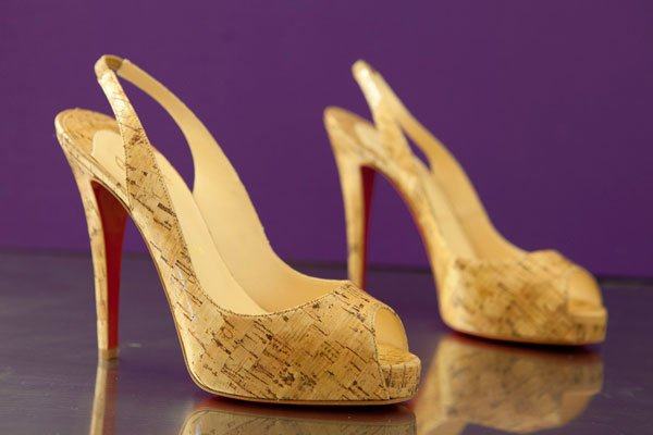 "Christian Louboutin ""Prive"" cork sling-back pumps"