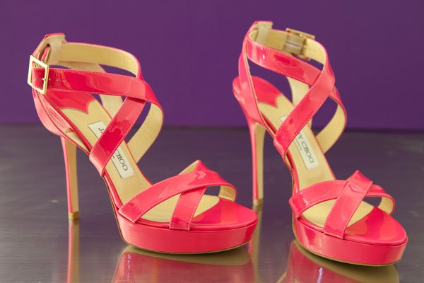 Jimmy Choo bubblegum pink patent leather sandal