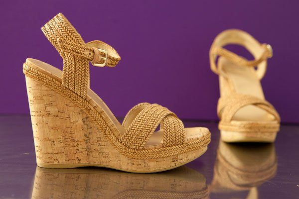 Stuart Weitzman laniard and cork wedge