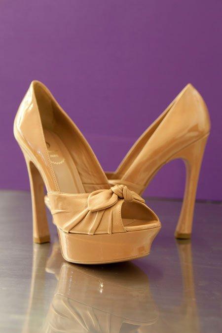 """Yves Saint Laurent """"Palais"""" patent peep-toe bow pumps"""