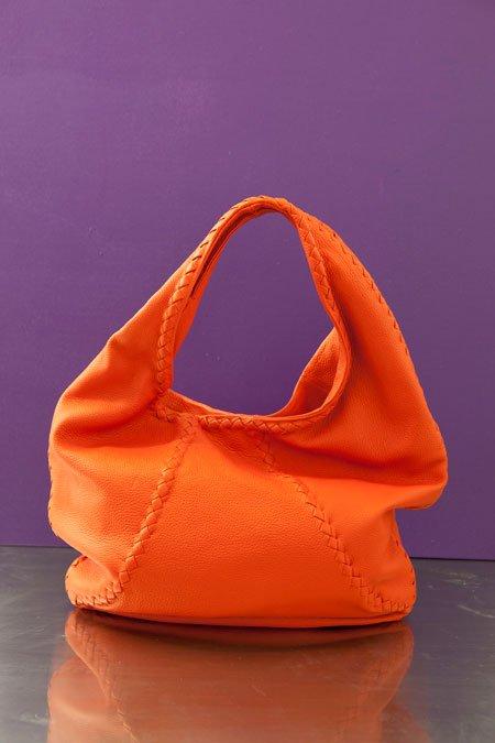 Bottega Veneta tangerine braided leather hobo