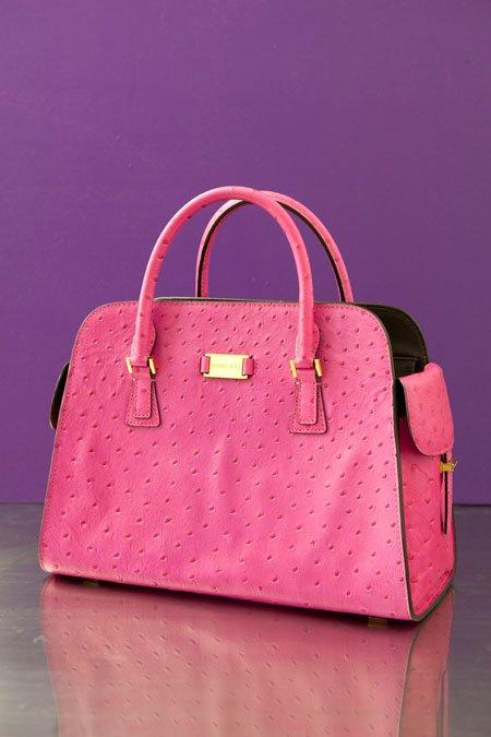 "Michael Kors ""Gia"" pink ostrich printed structured handbag"
