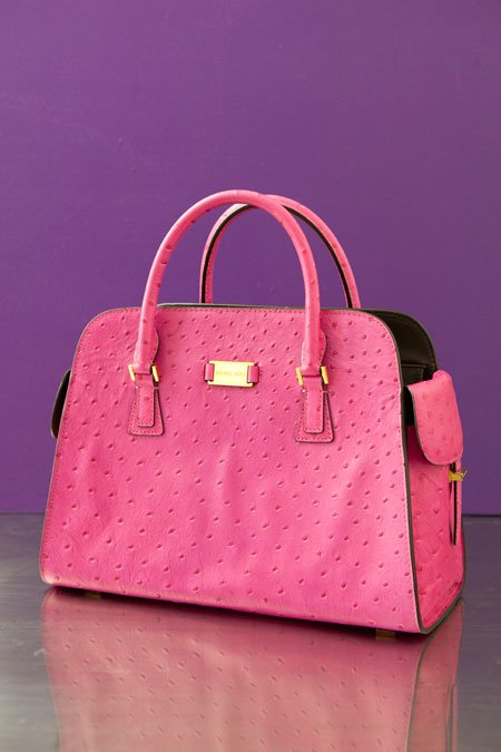 "Michael Kors ""Gia"" pink ostrich printed structured handbag"