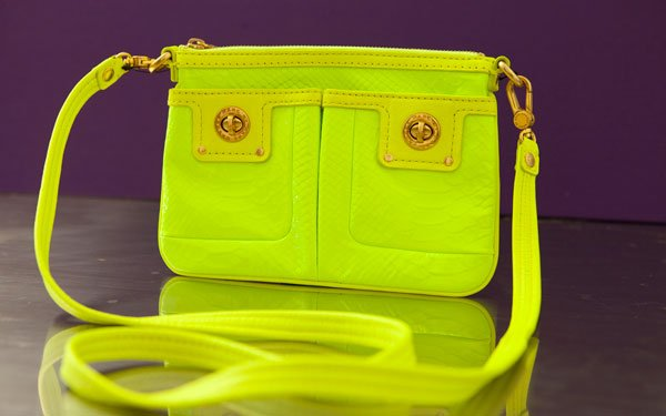 Marc by Marc Jacobs fluorescent lime python messenger clutch