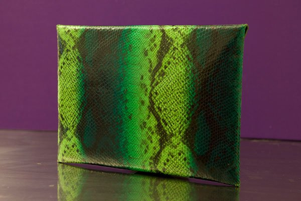 """Llene"" green and blue python envelope clutch"