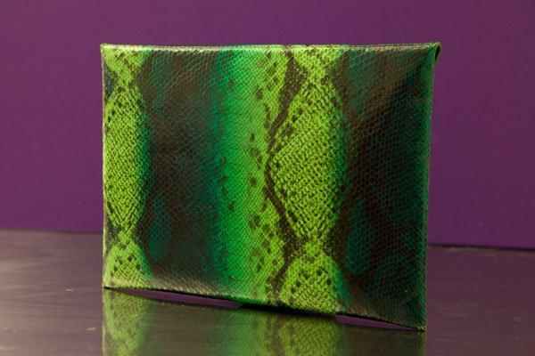 """Llene"" green and blue python envelope clutch"